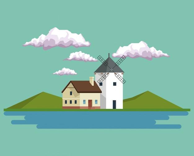 Tageshintergrundlandschaft von bergen und von haus mit windmühle und see