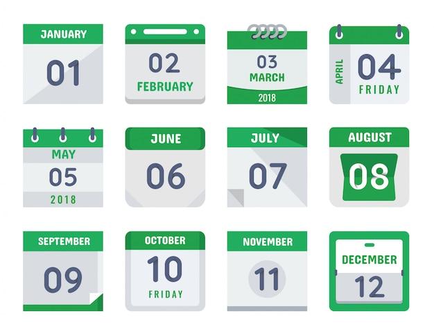 Tageskalender design collection set