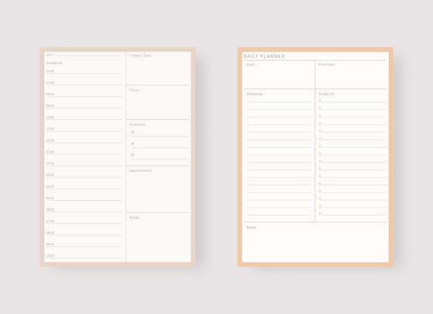 Tagesplaner-vorlage set aus planer und aufgabenliste modernes planer-vorlagenset