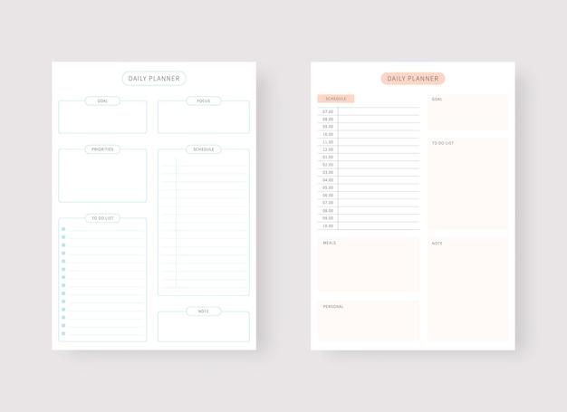 Tagesplaner-vorlage set aus planer und aufgabenliste