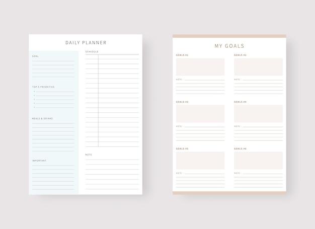 Tagesplaner-vorlage set mit planer und aufgabenliste