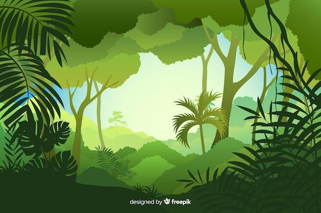 Tageszeit der tropischen waldlandschaft