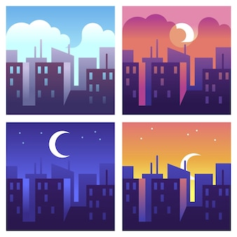 Tageszeiten der stadt. morgen- und mittags-, abend- und nachtstadtbild, gebäude und wolkenkratzer zu verschiedenen zeiten, modernes stadtlandschaftskonzept, vektor-cartoon-illustrationen im flachen stil