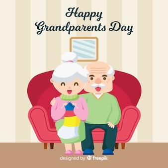 Tageszusammensetzung der schönen großeltern mit flachem design