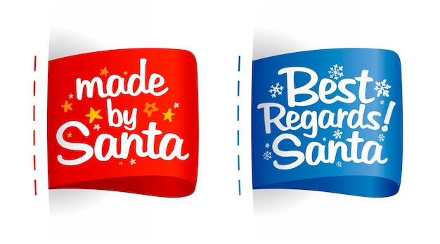 Tags für geschenke gesetzt - gemacht von santa und mit freundlichen grüßen santa