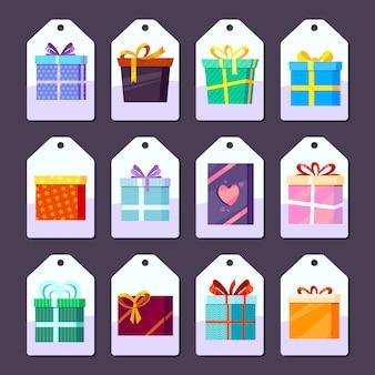 Tags geschenke. warenwerbungs-aufkleberschablone mit den bildern des geschenks gefärbt mit bandpaketen vector warenkarikatur
