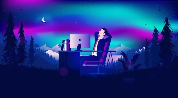 Tagträumer am arbeitskonzept mit geschäftsmann, der sich in der nachtlandschaft entspannt
