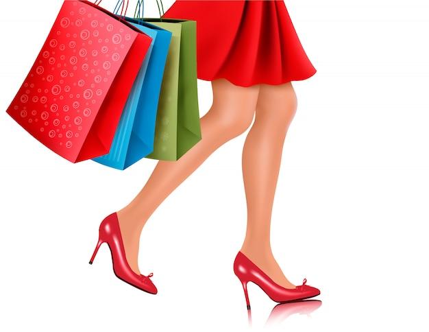 Taillenansicht der einkaufsfrau, die rote schuhe mit hohen absätzen trägt und einkaufstaschen trägt. illustration.