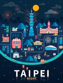 Taipei nacht, taiwan reisekonzeptillustration mit berühmten wahrzeichen in der nacht