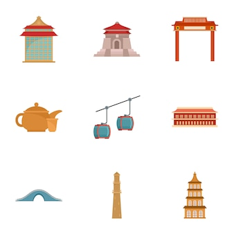 Taiwan-icon-set, flachen stil