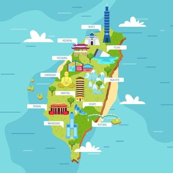 Taiwan karte mit landmarkenillustration
