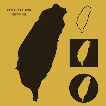 Taiwan-karte vorlage zum laserschneiden, holzschnitzen, scherenschnitt. silhouetten zum schneiden. taiwan karte vektorschablone.