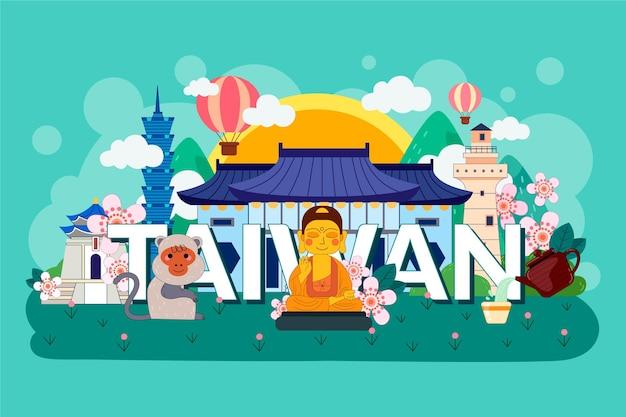 Taiwan wort mit bunten wahrzeichen