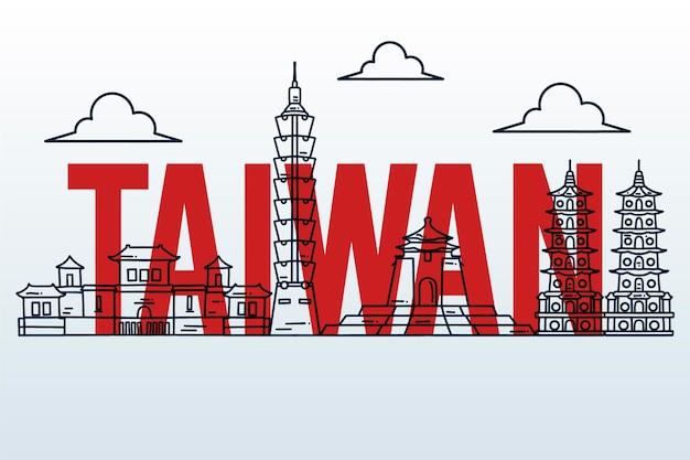 Taiwan wort mit wahrzeichen konzept