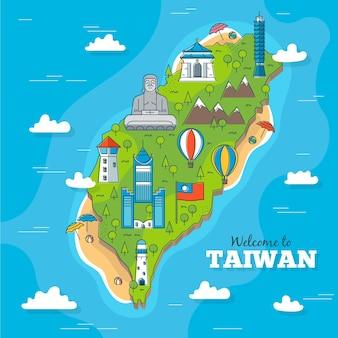 Taiwan wort mit wahrzeichen stil