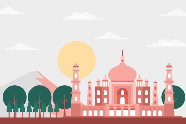 Taj mahal gebäude & landschaftsillustration - berühmtes wahrzeichen