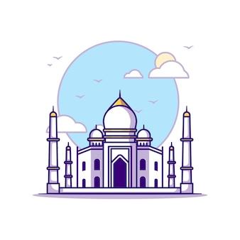 Taj mahal illustrationen. wahrzeichen konzept weiß isoliert. flacher cartoon-stil