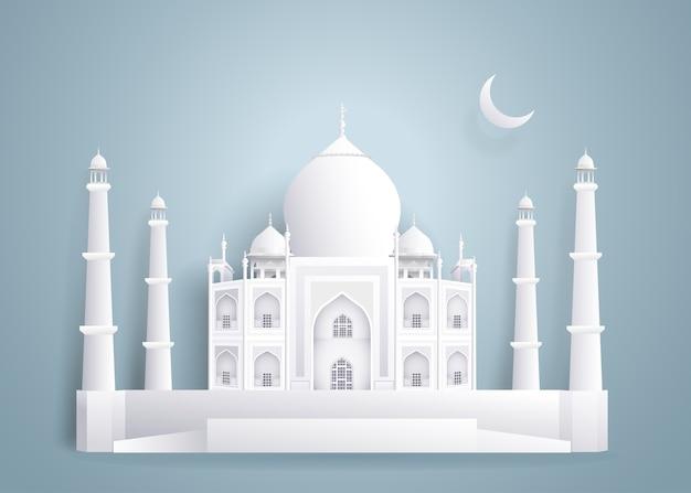Taj mahal papiergebäude auf hintergrund des blauen graus.