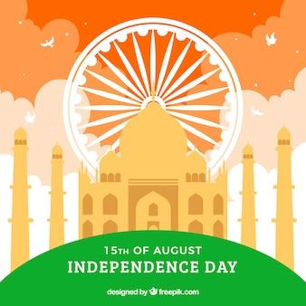 Taj mahal und die farben der indischen flagge
