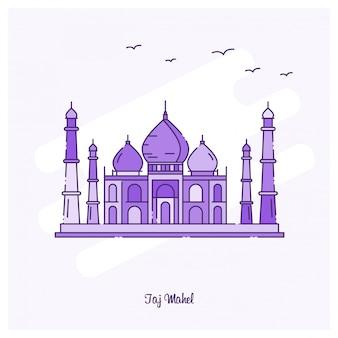 Taj mahel landmark purple skyline der gepunkteten linie