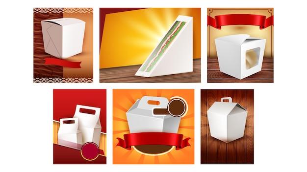 Take away leere pakete promo poster set vector. restaurant- und café-trageboxen für die lieferung von fast-food-werbebannern. stil farbkonzept vorlage illustrationen