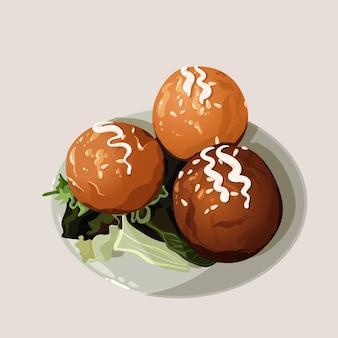 Takoyaki mit flachem salatdesign