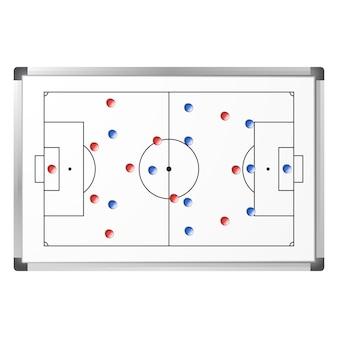 Taktischer entwurf des fußballspiels gezeigt auf dem whiteboard mit den blauen und roten magneten