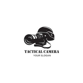 Taktisches kamerakrieg-silhouette-logo