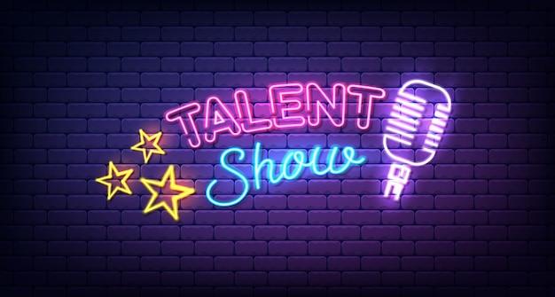 Talent show leuchtreklame. nachtschild, nächtliche helle werbung, leichte inschrift.