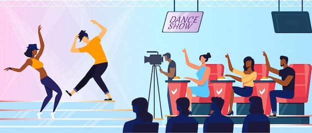 Talent show recording flat vector illustration
