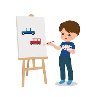 Talentierter kleiner junge, der autos auf leinwand mit pinsel zeichnet. malunterricht aktivität. zeichentrickfigur. flacher vektor isoliert.