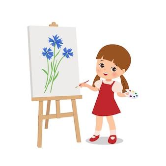 Talentiertes kleines mädchen, das blume auf leinwand mit pinsel zeichnet. malerei schule aktivität clipart. zeichentrickfigur. flacher stilvektor isoliert.