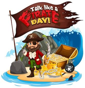 Talk like a pirate day schriftbanner mit piraten-cartoon-figur