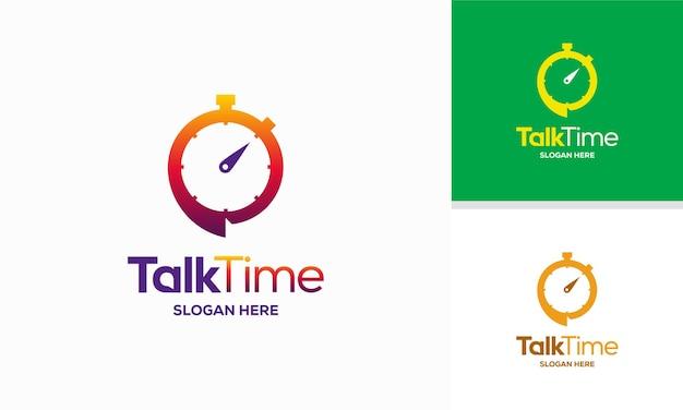 Talk time logo entwirft konzeptvektor diskutieren sie das symbol der uhr-logo-vorlage