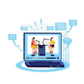 Talkshow online-flat-konzept. video mit computer streamen. spielen sie inhalte auf einem laptop ab. der podcast enthält 2d-zeichentrickfiguren für das webdesign. kreative idee für ein konversationsvideo