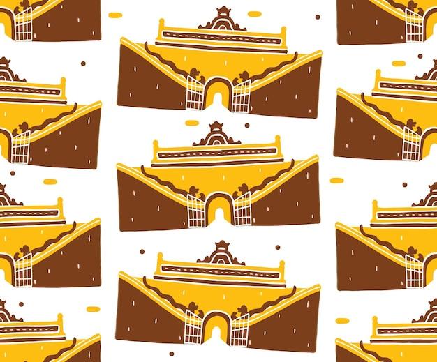 Taman sari nahtloses muster im flachen designstil