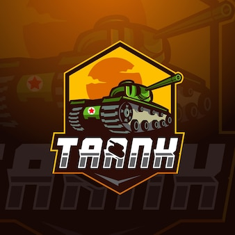 Tank esport maskottchen logo design illustration vektor