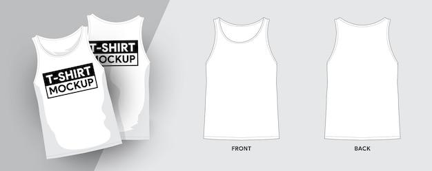 Tank top t-shirt vorlage umriss strich illustrationen