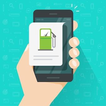 Tanken von benzin mit handy-app, tankstellen-info-nachricht auf dem handy-smartphone