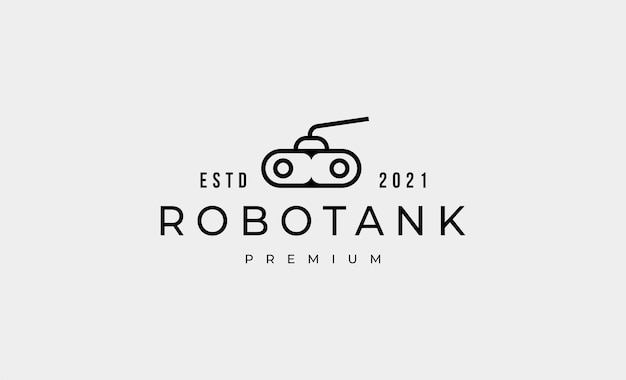 Tankroboter-umriss-logo-design-vektor-illustration