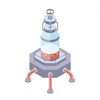 Tanks für die flüssig-, chemie- oder lebensmittelindustrie. illustration in isometrischer projektion, auf weißem hintergrund.