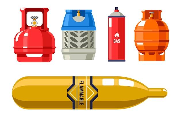 Tanks und flaschen mit gas- und erdölvektor