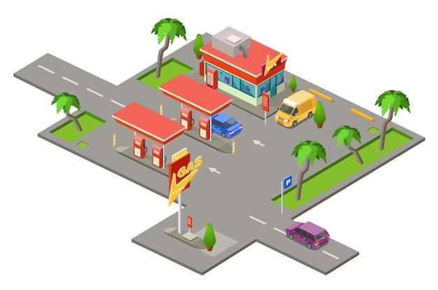 Tankstelle, autos auf tankstelle, die tank füllt