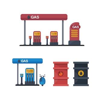 Tankstelle energie set von elementen für den bau von stadt- und dorflandschaften