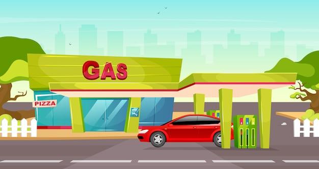 Tankstelle farbabbildung. benzinpumpe für fahrzeug. benzinnachfüllung für den transport im overdrive. autokraftstoffservice. nettes karikaturstadtbild mit rotem auto auf hintergrund