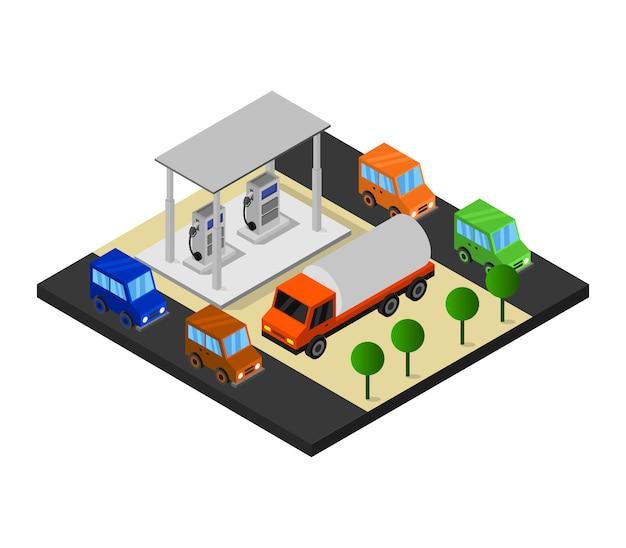 Tankstelle isometrisch