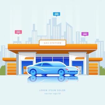 Tankstelle mit auto