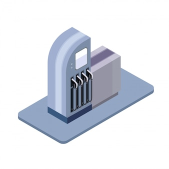 Tankstelle, spaltenisometrisches symbol. illustration, auf weißem hintergrund.