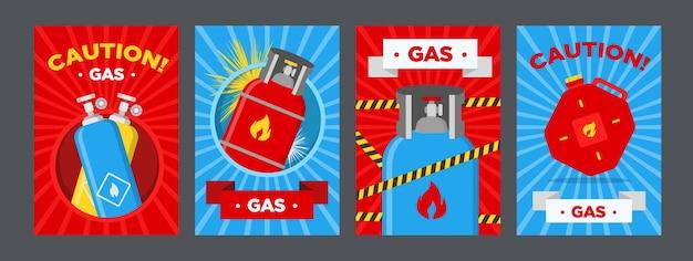 Tankstellen-warnplakate gesetzt. kanister und luftballons mit brennbaren zeichenvektorillustrationen auf rotem oder blauem hintergrund. vorlagen für tankstellenbanner und warnschilder