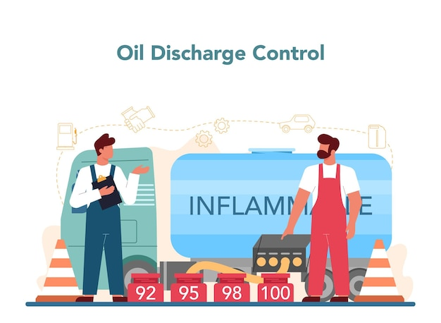 Tankstellenarbeiter- oder tankerkonzept